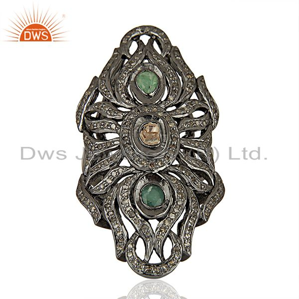 Handmade Emerald Gemstone Pave Diamond Antique Rings Jewelry Supplier