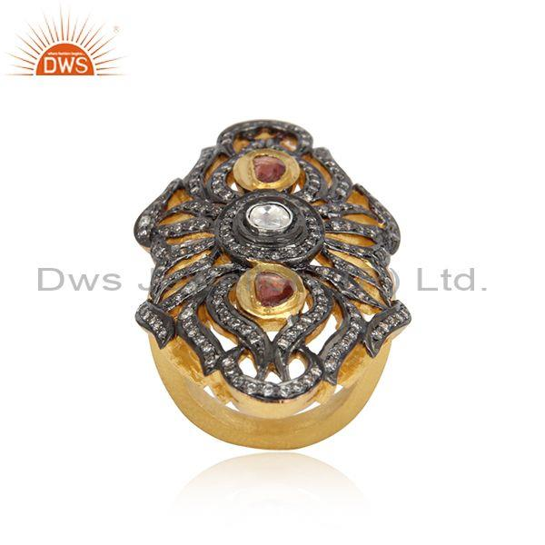 Designer Gold on Silver 925 Ring with PinkTourmaline, Crystal, Cz