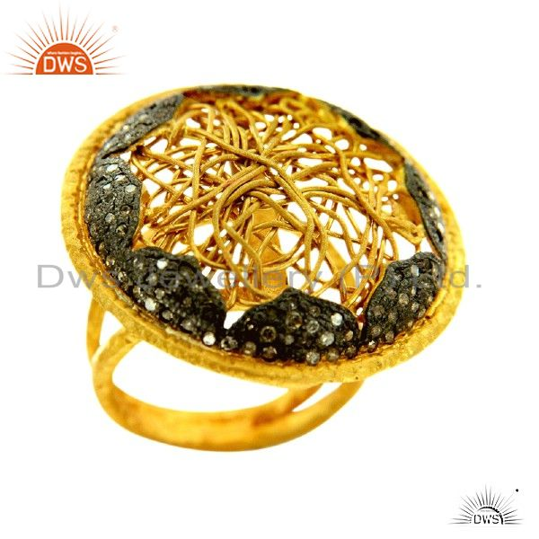 14K Yellow Gold Plated Sterling Silver Pave Set Diamond Cocktail Fashion Ring