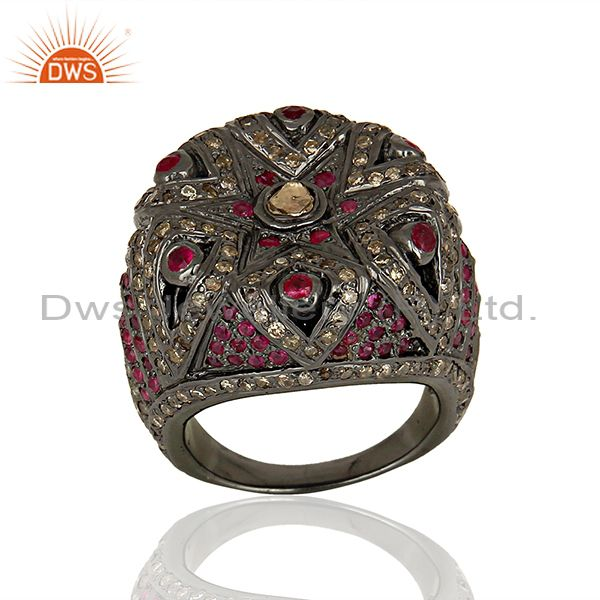 925 Silver Pave Diamond Ruby Gemstone Antique Ring Manufacturer
