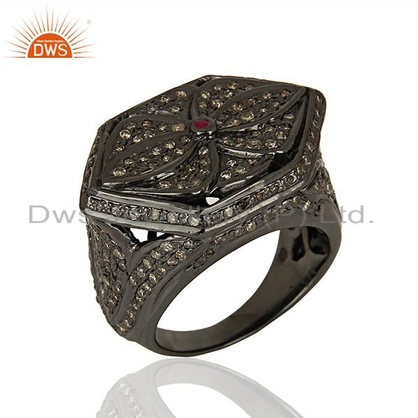 Black Rhodium Plated Pavbe Diamond Antique Silver Ring Supplier