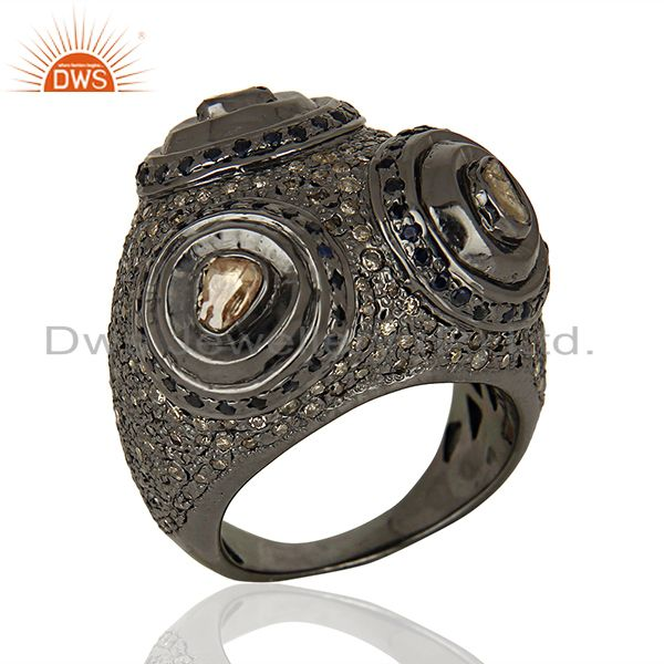 925 Silver Pave Diamond Engagement Rings Jewelry Manufacturer