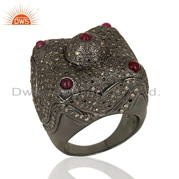 New Arrival Pave Diamond Wedding Silver Ring Jewelry Wholesale