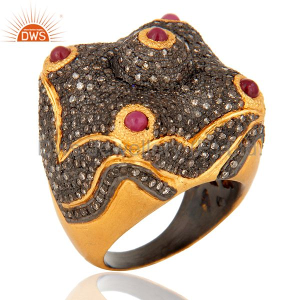 18K Gold Over 925 Sterling Silver Ruby Diamond Pave Designer Dome Ring