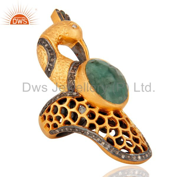 18K Gold Plated 925 Sterling Silver Pave Diamond Emerald Peacock Design Ring