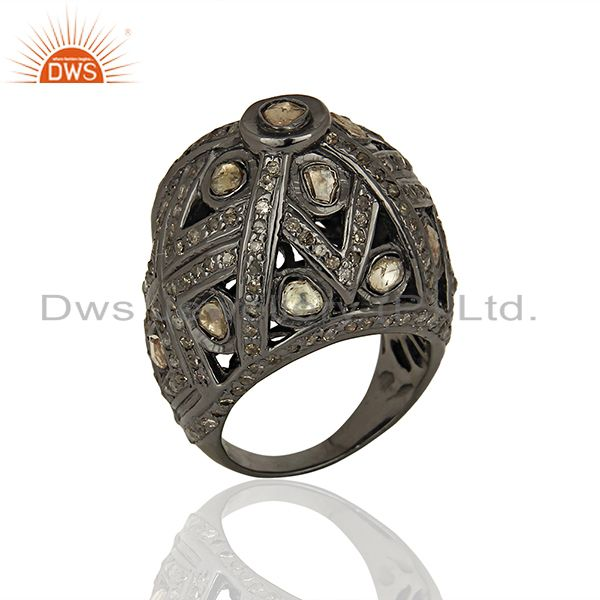 Black Rhodium Plated Silver Pave Diamond Ring Manufacturer Jewelry