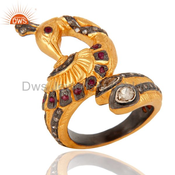 Peacock Designer Ruby Rose Cut Diamond Pave Set 925 Sterling Silver Ring Jewelry