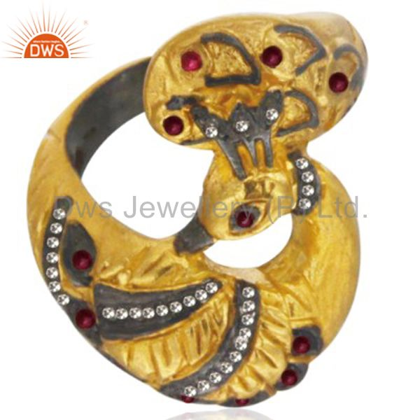 Round Shaped July Birthstone Ruby Peacock Ring Round Diamond 22k Yellow Gold Pla