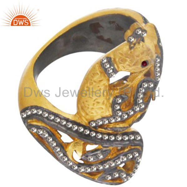 18K Gold Plated Sterling Silver Pave Diamond Ruby Peacock Ring
