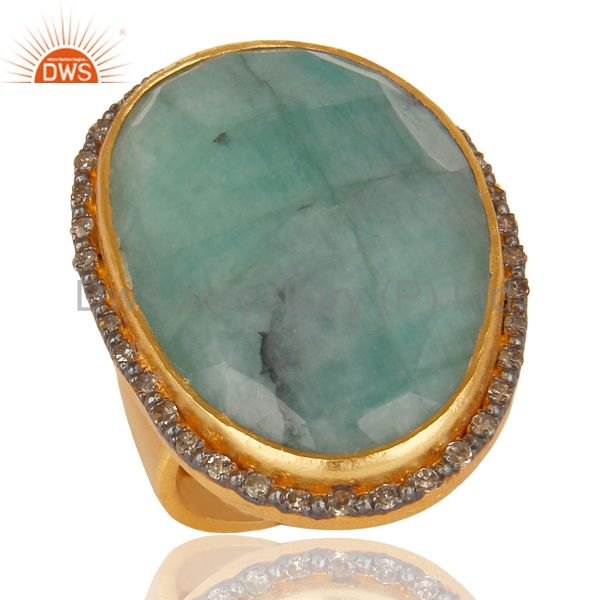 Designer Handmade Sterling Silver 22k Gold Plated Natural Emerald Gemstone Ring
