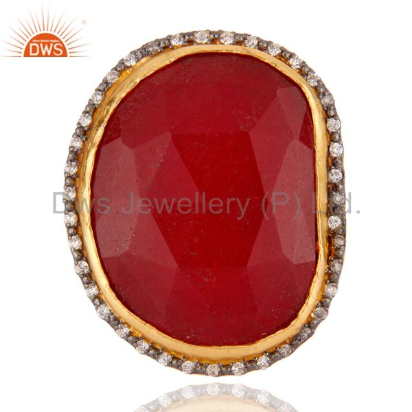 Faceted Red Aventurine Gemstone 24K Gold Plated Cocktail Ring With CZ