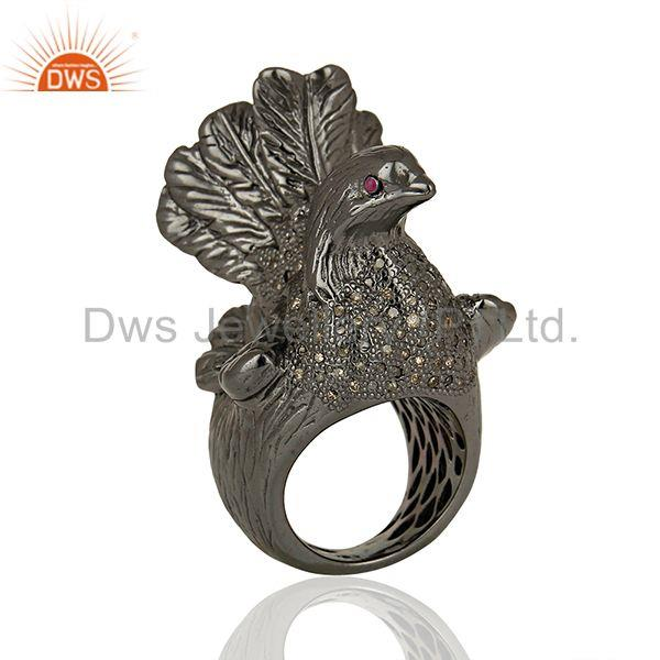 Black Rhodium Plated Silver Diamond Wedding Rings Jewelry Supplier