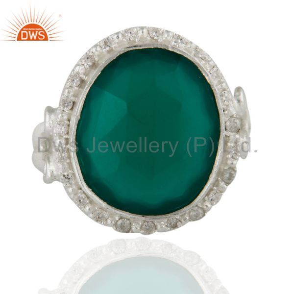 Handmade Green Onyx And Cubic Zirconia Handmade Sterling Silver Ring