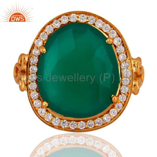 18K Gold Plated Sterling Silver Prong Set Green Onyx Ring With CZ