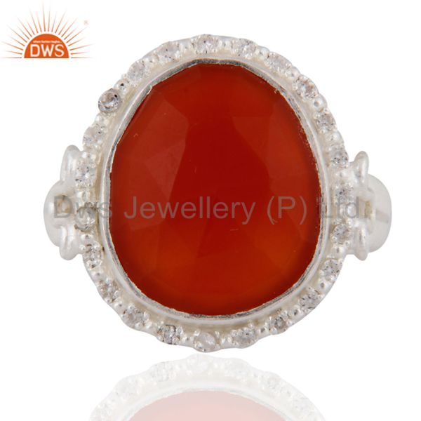925 Sterling Silver Faceted Red Onyx Gemstone And White Zircon Handmade Ring