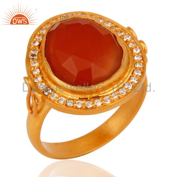 Handmade 925 Sterling Silver Red Onyx Gemstone Gold Plated Ring Size 7 Jewelry
