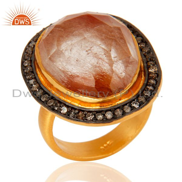 18-Kt. Gold Over Sterling Silver Rutilated Quartz And Pave Diamond Fashion Ring