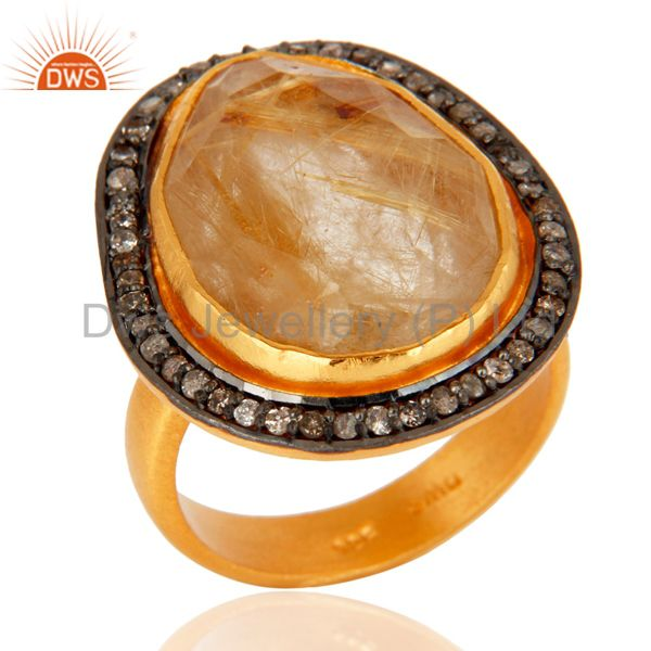 Pave Diamond Golden Rutilated Quartz Gemstone Ring In 18K Gold On Sterling Silve