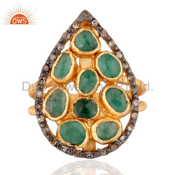 925 Sterling silver Emerald Gemstone Diamond Ring in 24k Brushed Gold Plated