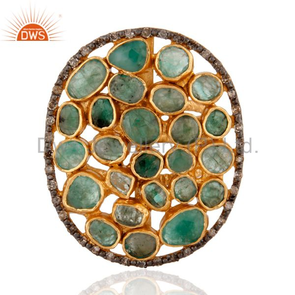 Natural Emerald Rough Slice Stone 24k Yellow Gold Over Sterling Silver Diamond R