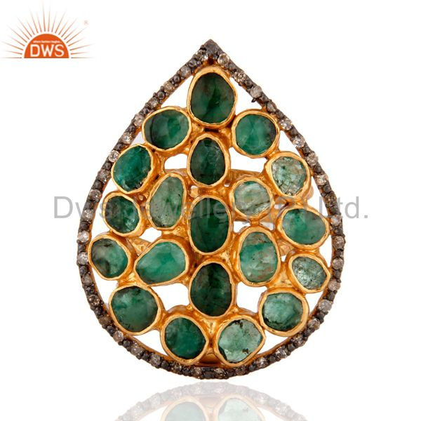 925 Silver Emerald Gemstone Slice Diamond Texture Finished Gold Plated Ring