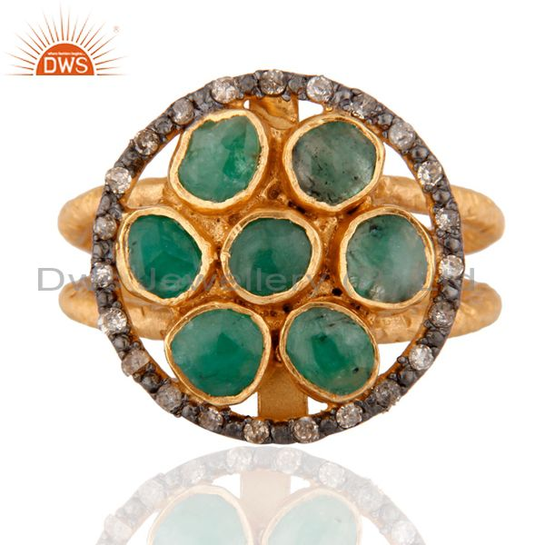 925 SIlver Diamond High Quality Emerald Designer Cocktail Ring Plated with 24K G