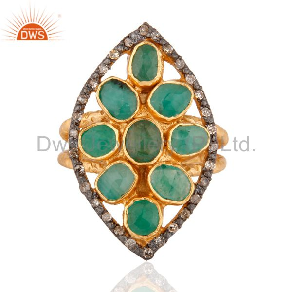 Emerald Gemstone 925 Sterling Silver Natural Diamond Ring With 24k Gold Plated