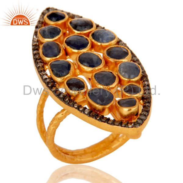 18K Yellow Gold Over Sterling Silver Blue Sapphire Pave Diamond Statement Ring
