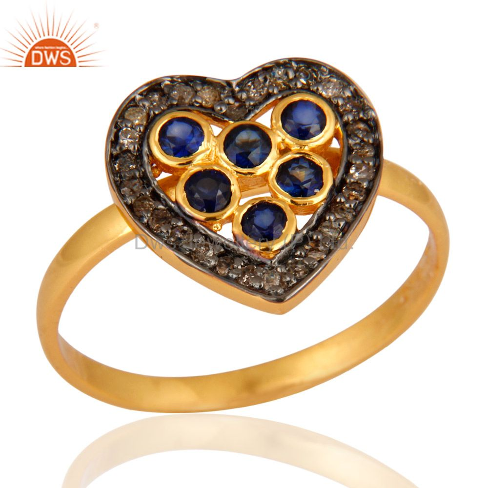 Blue Sapphire And Pave Diamond Heart Shaped Ring In 18K Gold On Sterling Silver