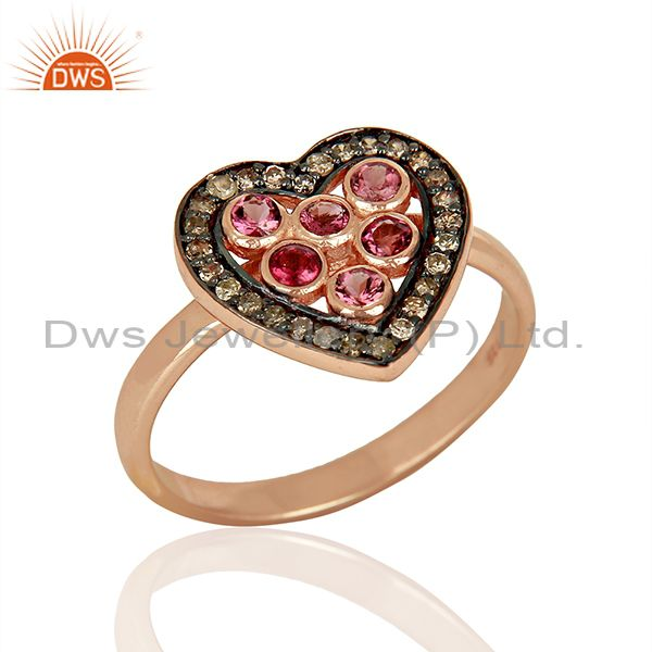 Heart Shape Pink Tourmaline Diamond Indian Rings Supplier Jewelry