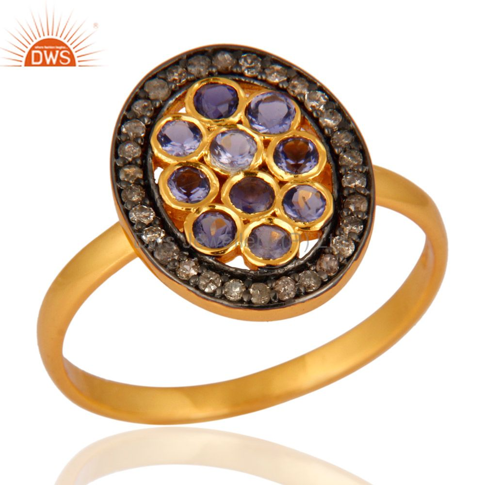 14K Gold Plated 925 Sterling Silver Pave Diamond Iolite Ring Wedding Jewelry