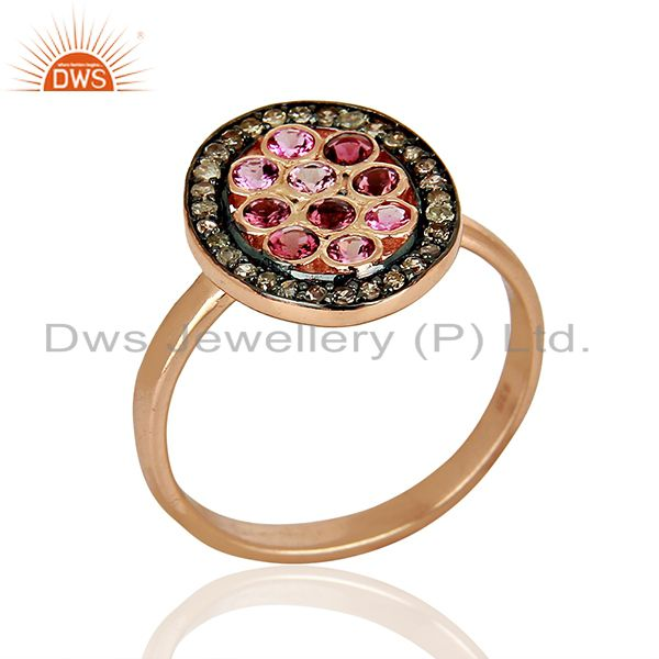 Rose Gold Plated Silver Pave Diamond Designer Ring Manufacturer