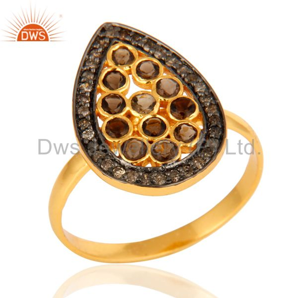 Handmade Pave Diamond Smoky Quartz 925 Sterling Silver Ring With Gold Plated