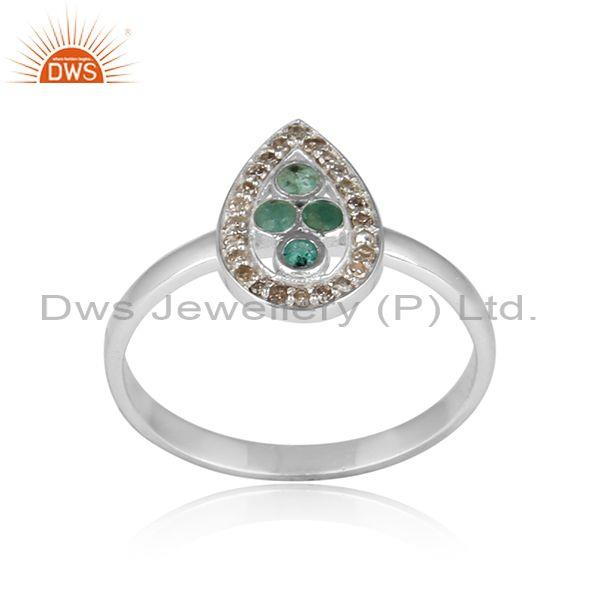 Emerald Pave Diamond Pear shaped Sterling Silver Ring