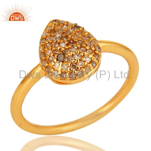14K Yellow Gold Over Sterling Silver Natural Pave Set Diamond Stacking Ring