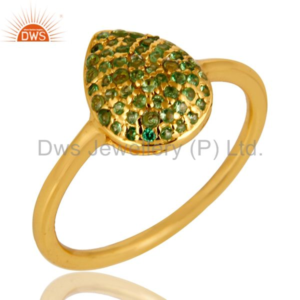14K Yellow Gold Plated Sterling Silver Pave Set Tsavorite Womens Stack Ring
