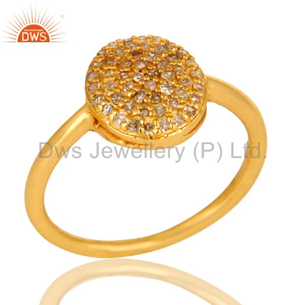 18K Yellow Gold Over Sterling Silver Natural Pave Set Diamond Circle Ring