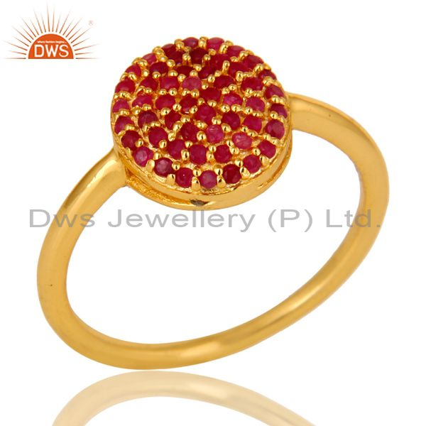 14K Yellow Gold Over Sterling Silver Pave Ruby Gemstone Stacking Cocktail Ring
