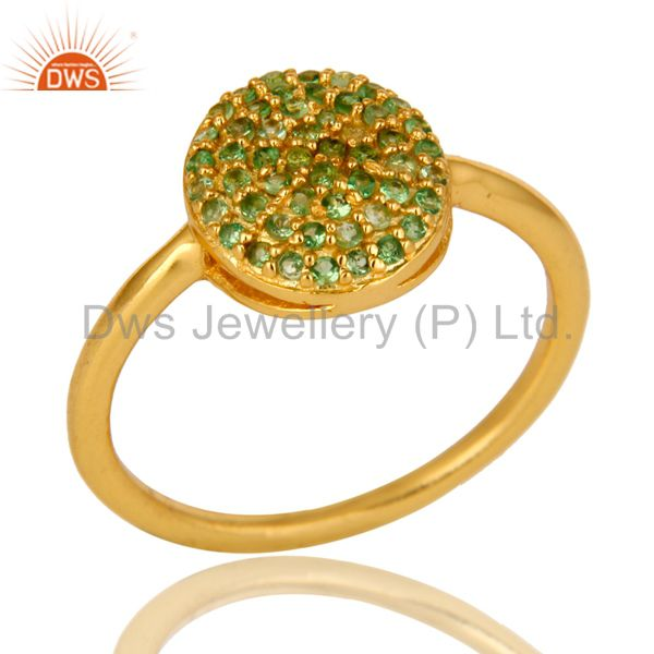 14K Yellow Gold Over Sterling Silver Pave Set Tsavorite Stacking Ring