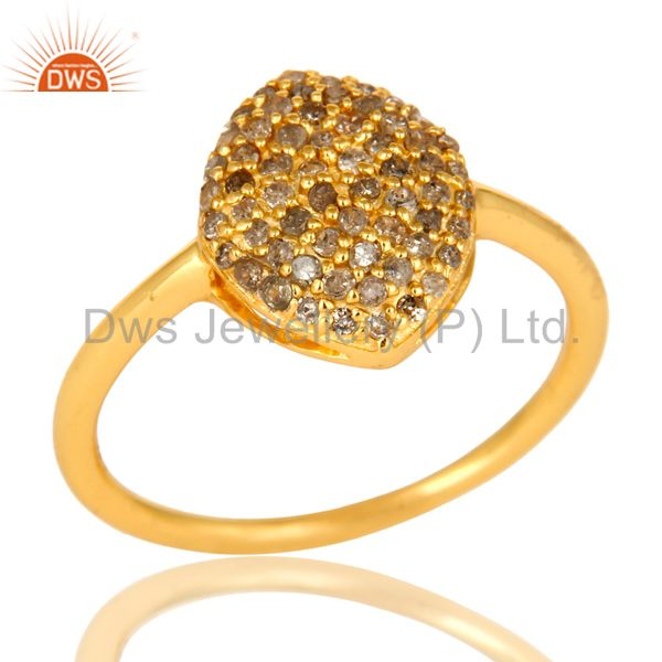 Shiny 18K Yellow Gold Plated Sterling Silver Pave Set Diamond Statement Ring