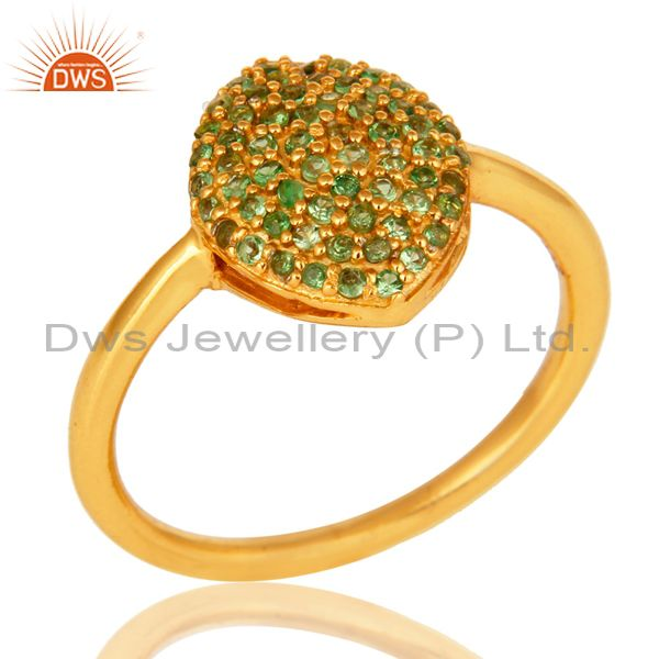 Shiny 14K Yellow Gold Plated Sterling Silver Pave Tsavorite Statement Ring