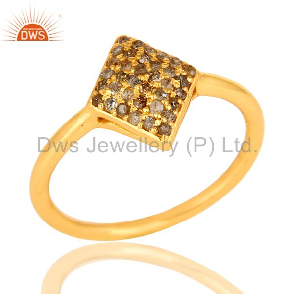 18k Yellow Gold Over Sterling Silver Pave-Set Diamond Stacking Engagement Ring