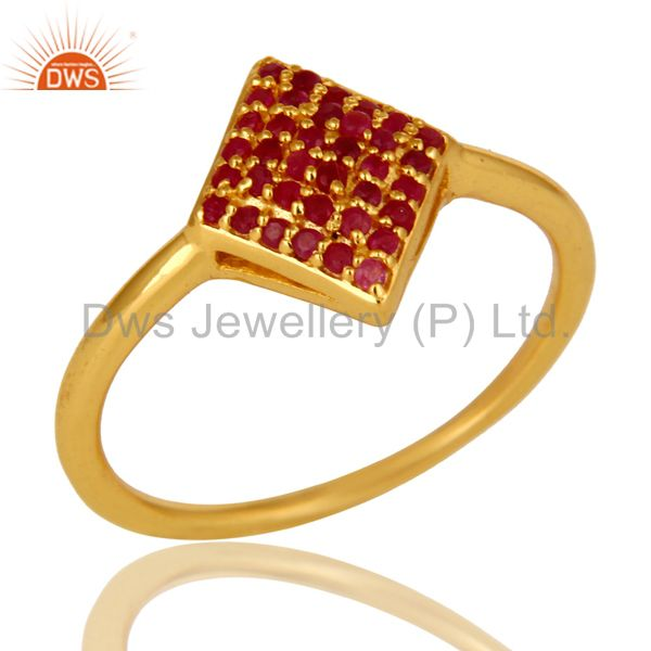 14K Yellow Gold Plated Sterling Silver Pave Ruby Gemstone Stacking Cocktail Ring