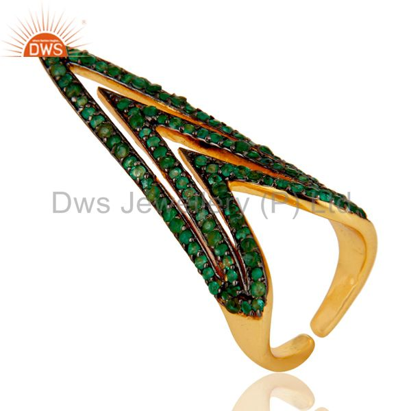 Pave Set Emerald Nail Fashion Ring Made In 14K Gold Over Sterling Silver