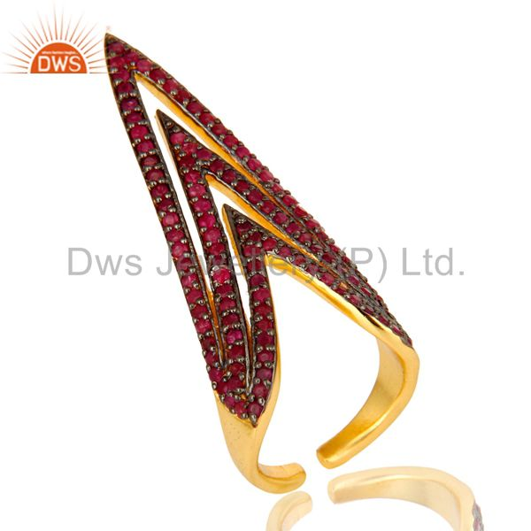 Pave Set Ruby Gemstone Nail Ring Made In 18K Gold Over Sterling Silver