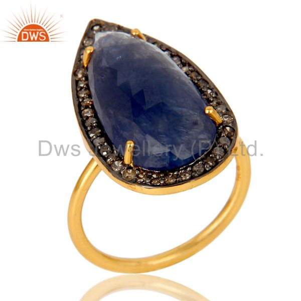 18K Yellow Gold Over Sterling Silver Pave Diamond Blue Sapphire Statement Ring