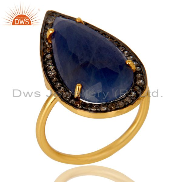 18K Yellow Gold Sterling Silver Pave Set Diamond Blue Sapphire Statement Ring