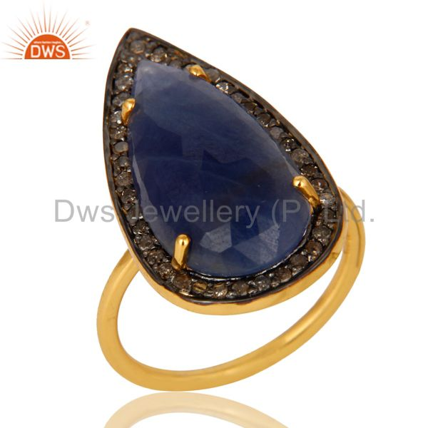 14K Yellow Gold Sterling Silver Pave Diamond And Blue Sapphire Statement Ring
