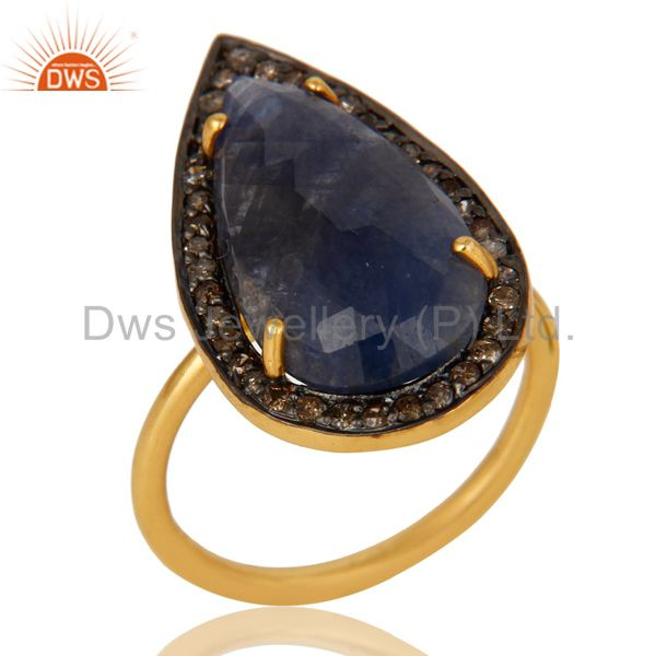 18K Gold Sterling Silver Pave Diamond And Blue Sapphire Fashion Statement Ring