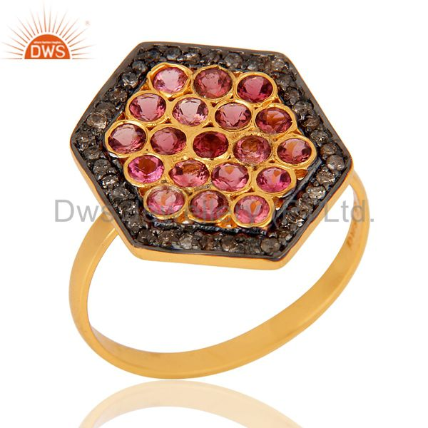 Natural Pink Tourmaline and Pave Diamond 18K Gold Plated Sterling Silver Ring